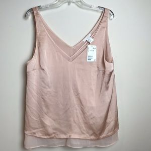 NWT H&M Silky Pink Layered V-Neck Top 12
